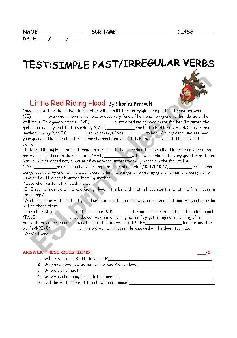 test  past simple/irregular verbs