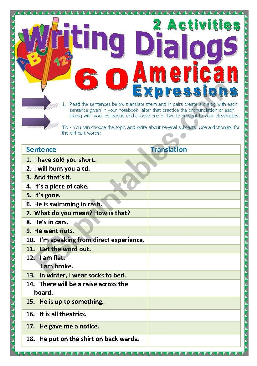 60 American Expressions (33 pages) + 2 activites and a Game. Instructions are included