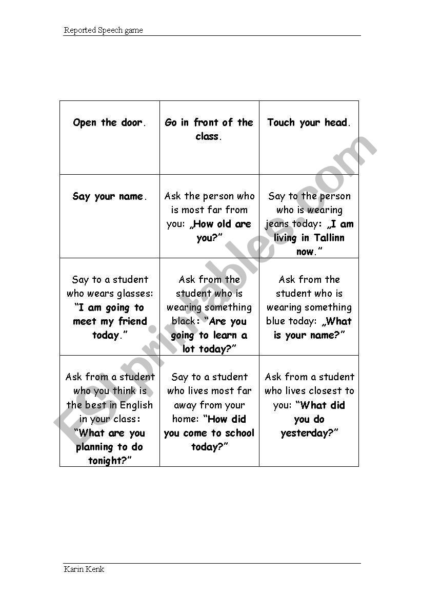 Reported Speech Game worksheet