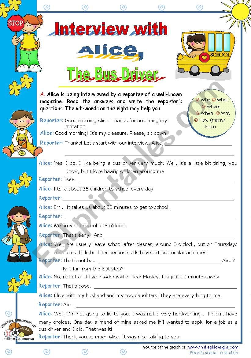 An Interview with Alice, the bus driver  - writing activity for elementary and lower intermediate students (A2)
