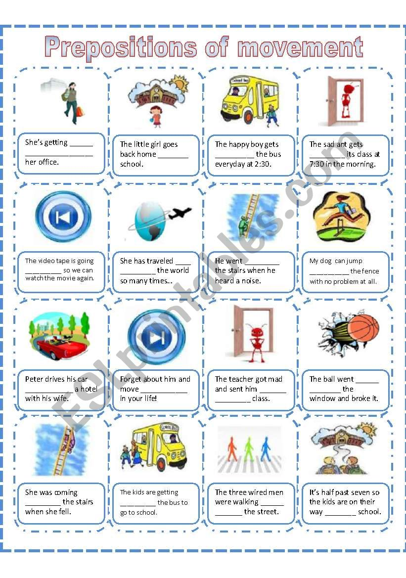 Prepositions of movement, a worksheet