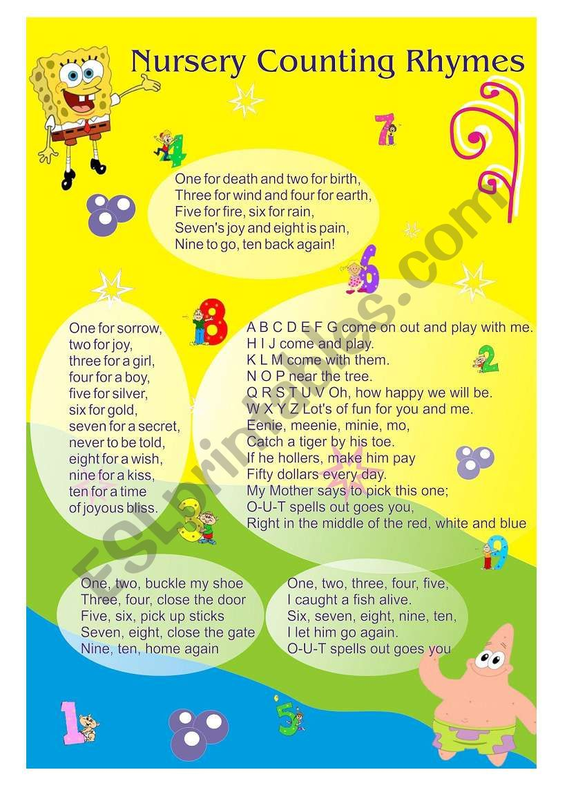 Nursery Counting Rhymes worksheet