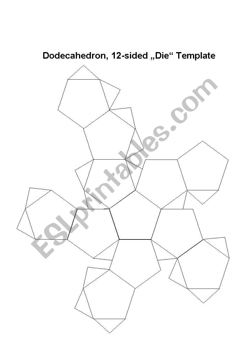 Dodecahedron Dice Template Worksheet