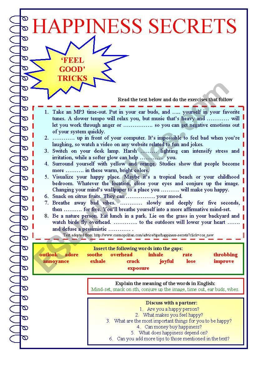 Happiness Secrets Esl Worksheet By Kate Kkcat