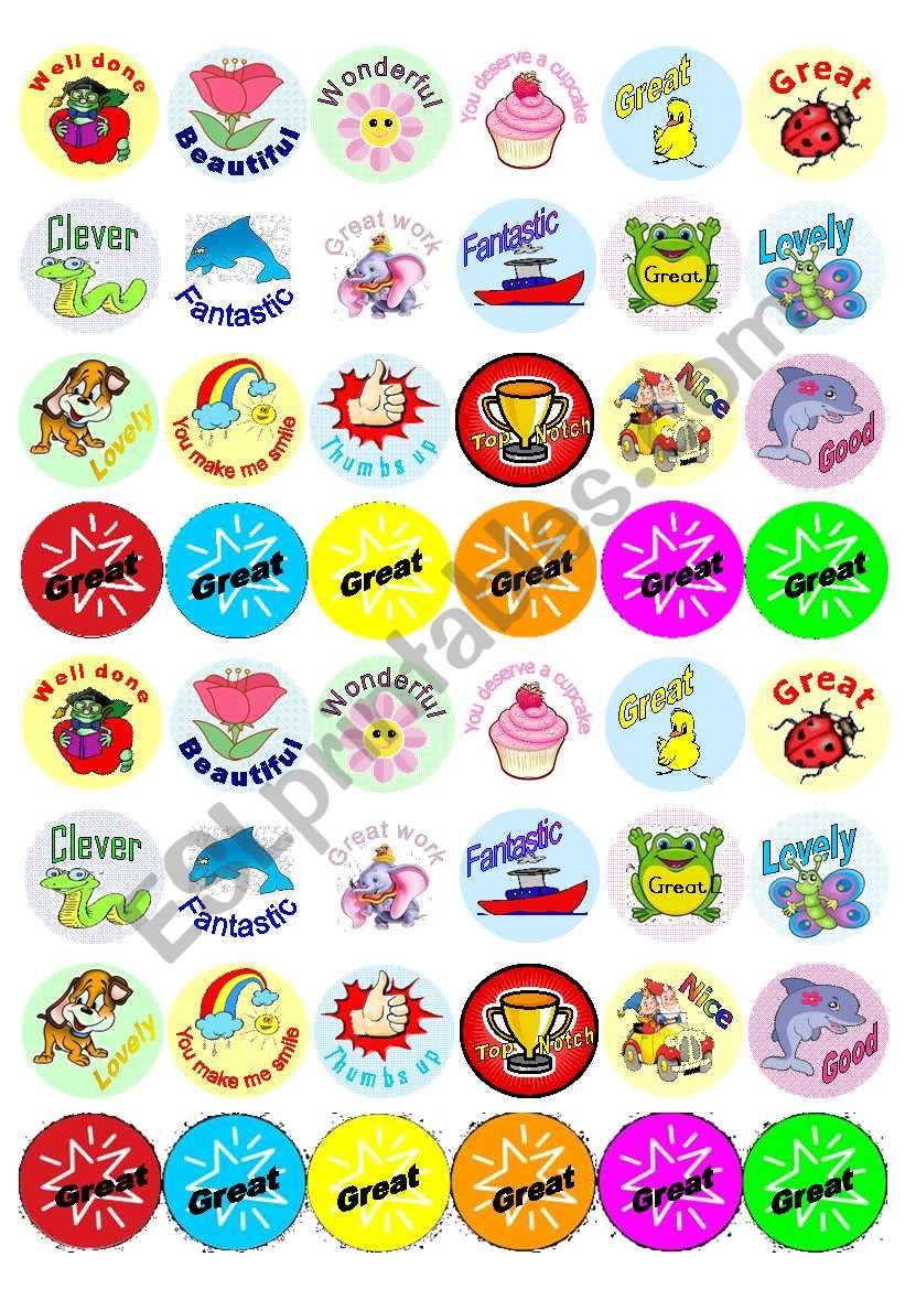 48 Reward Stickers worksheet