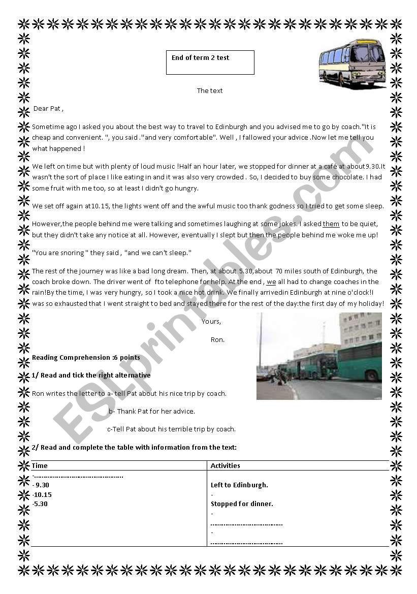 end of term 2 Test 9th form worksheet