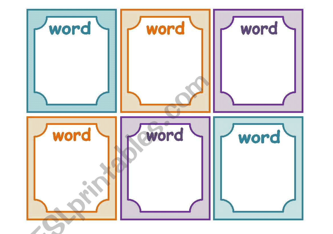 English worksheets: FLASHCARDS TEMPLATE Within Cue Card Template