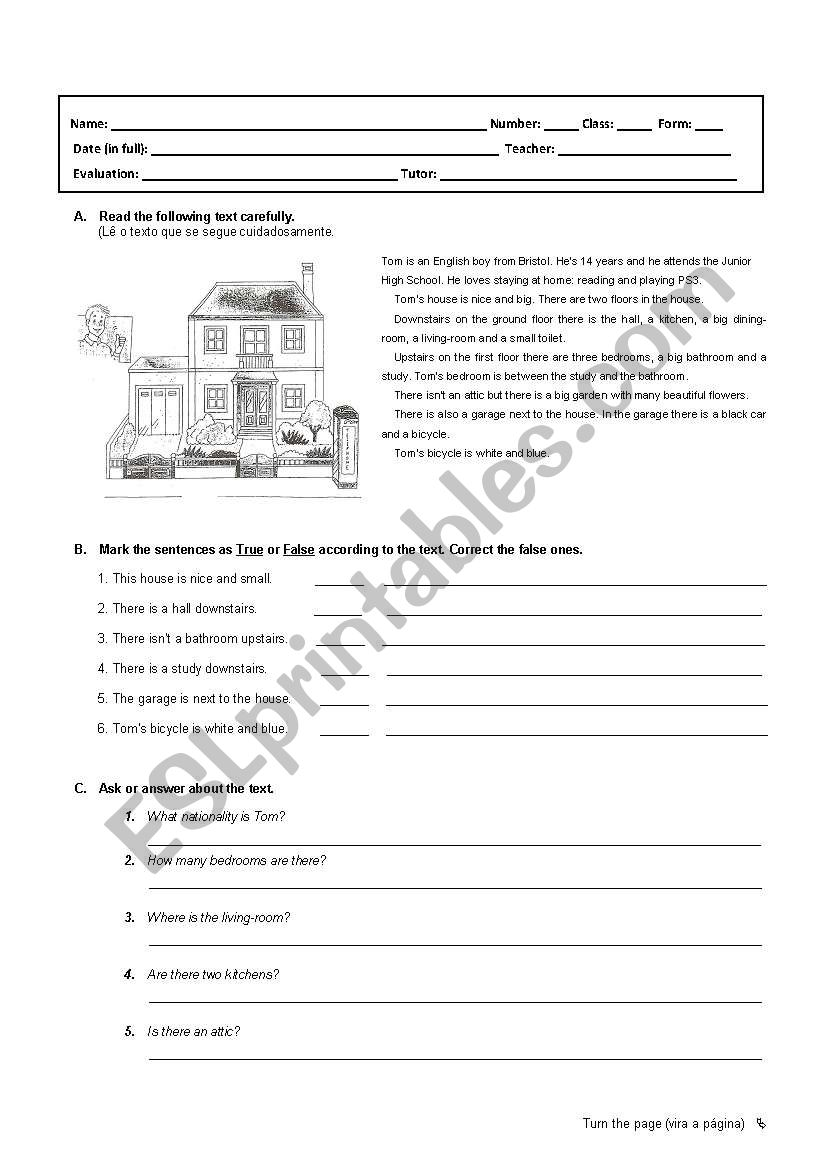 Test 6th grade worksheet