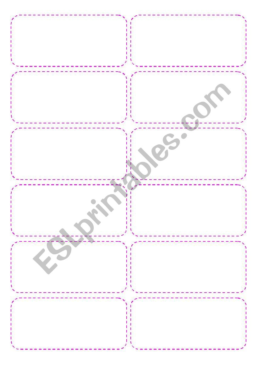 English Worksheets Game Cards Template 4 Pages 48 Cards