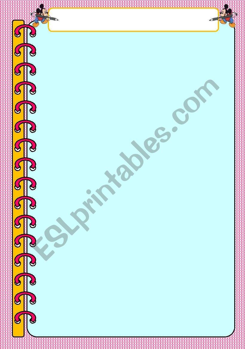 Notebook Template Disney worksheet
