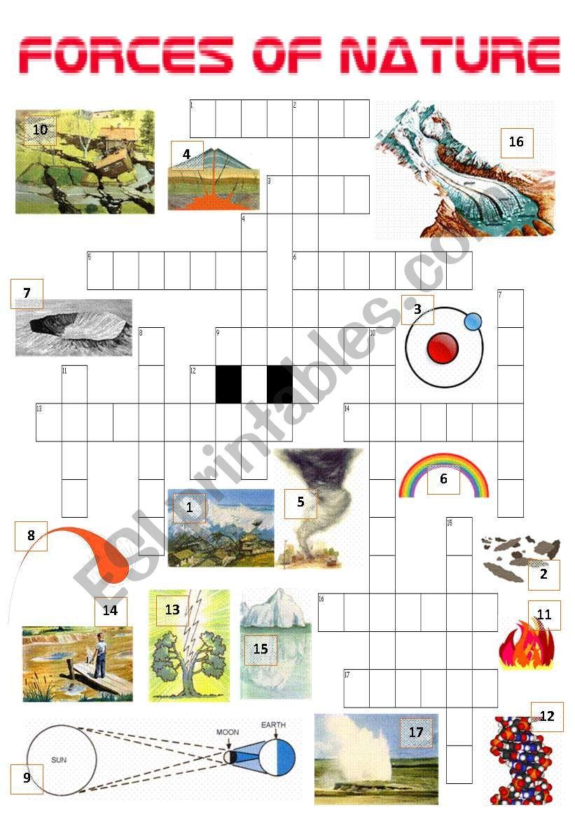 forces of nature crossword esl worksheet by ibod47. Black Bedroom Furniture Sets. Home Design Ideas