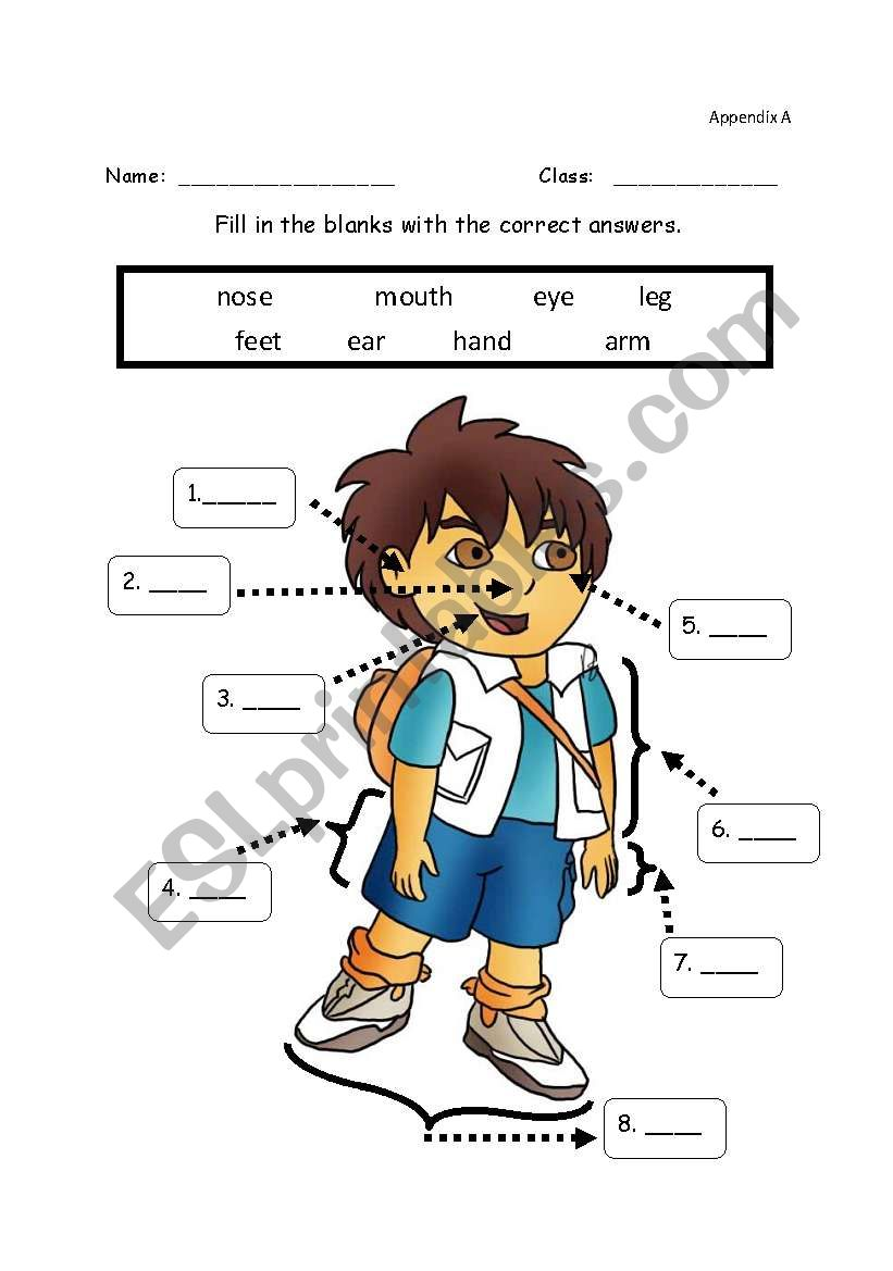 Body Parts Labelling Esl Worksheet By Tansy Genie