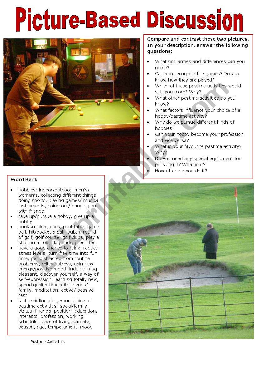 Picture-Based Discussion (21): Pastime Activities/Hobbies