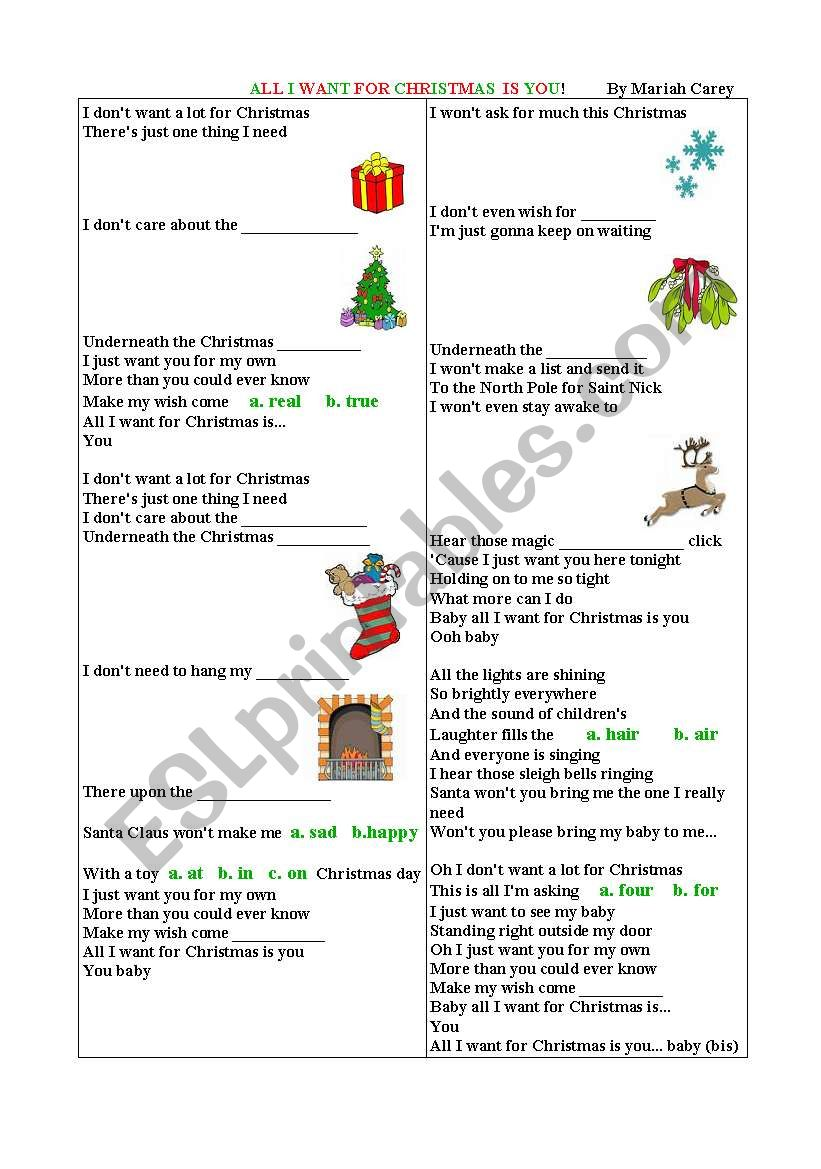 all i want for christmas song by mariah carey - All I Want For Christmas Song