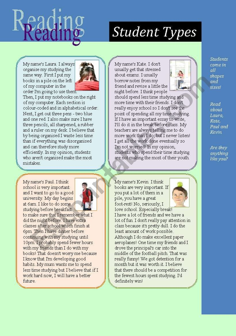 Reading: Student Types (and comparison of nouns)