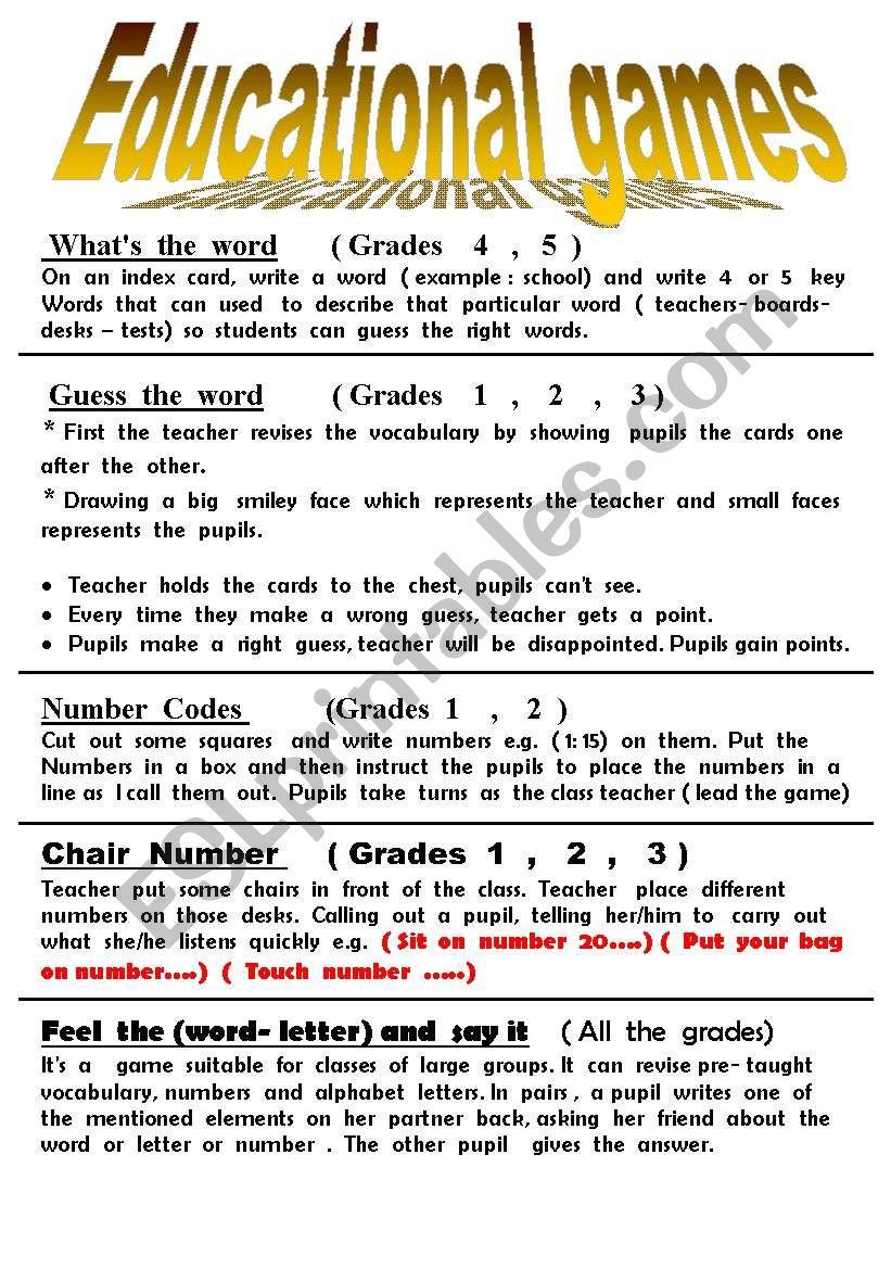 educationl  games worksheet