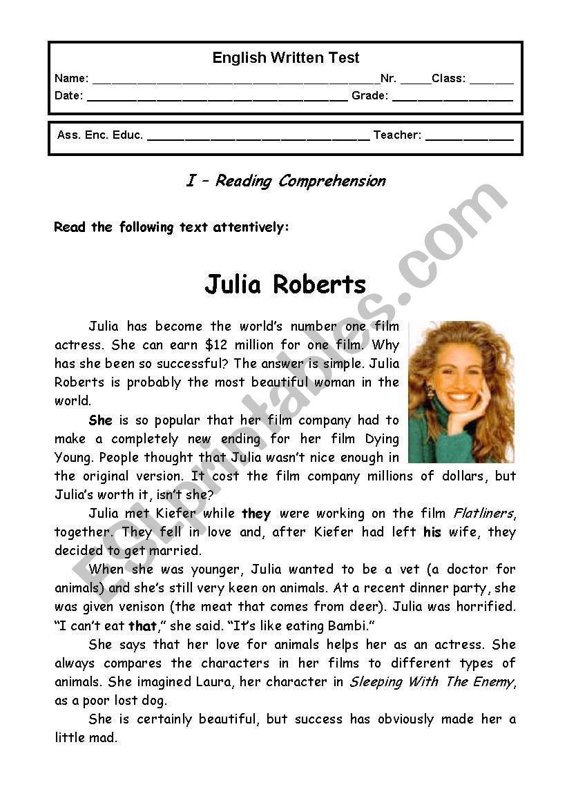 Jobs - 9th grade test  worksheet