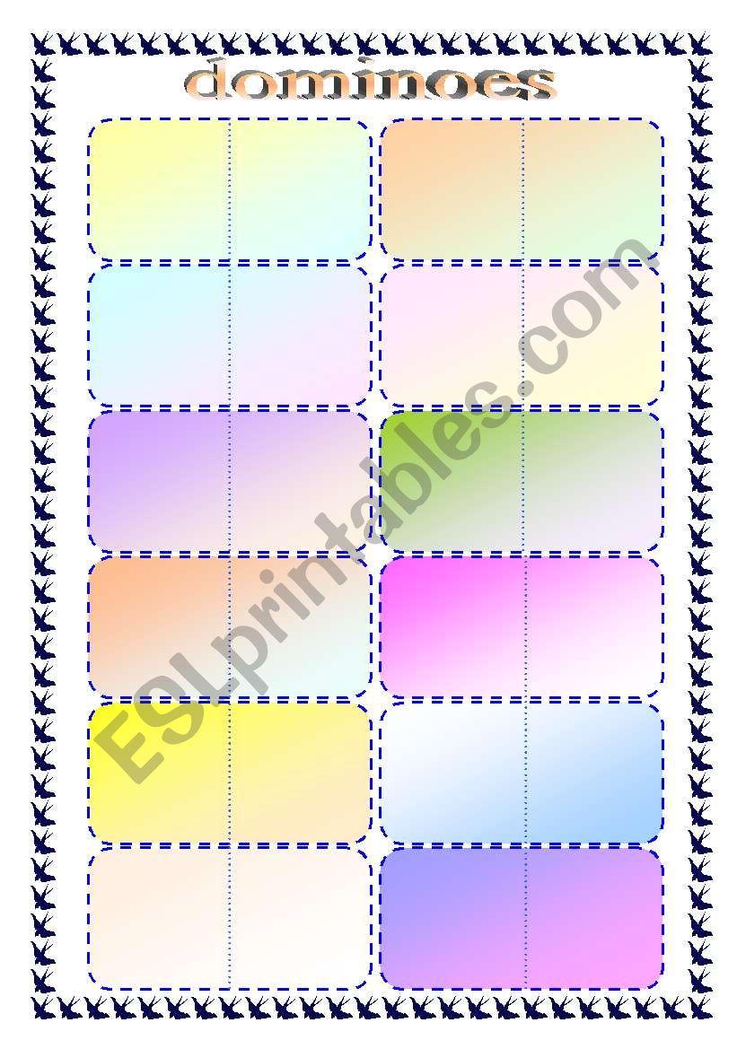 dominoes -  template worksheet