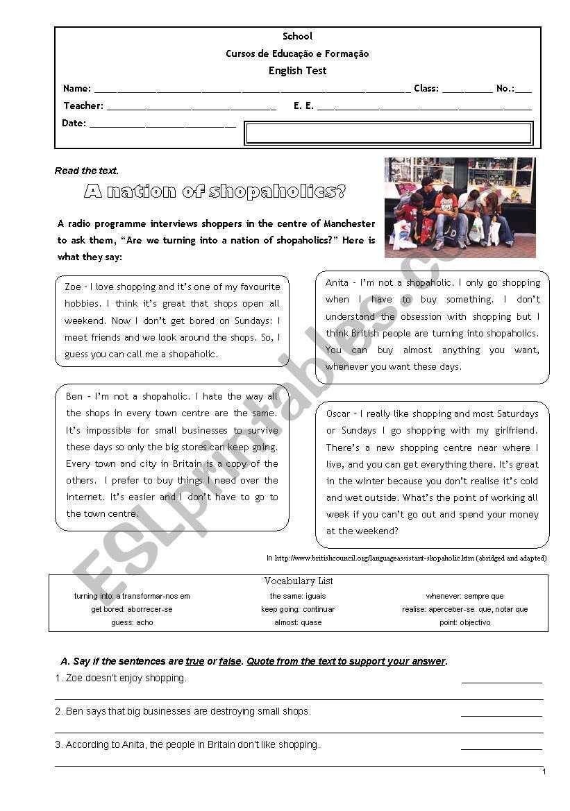 CEF Test worksheet