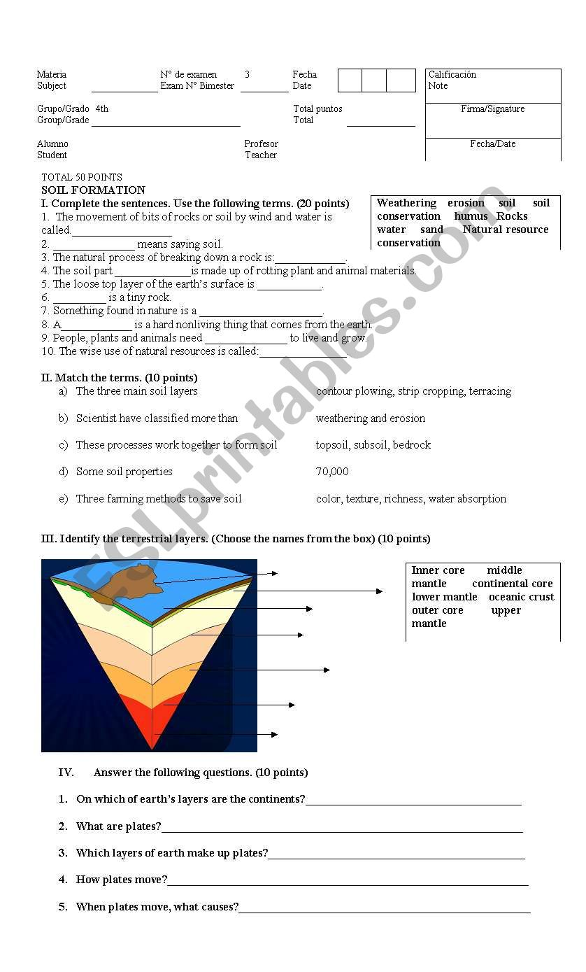 Earth science test for 4th grade students - ESL worksheet ...
