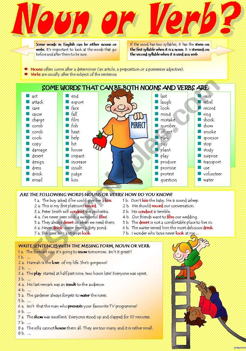 SAME WORD: NOUN OR VERB? worksheet