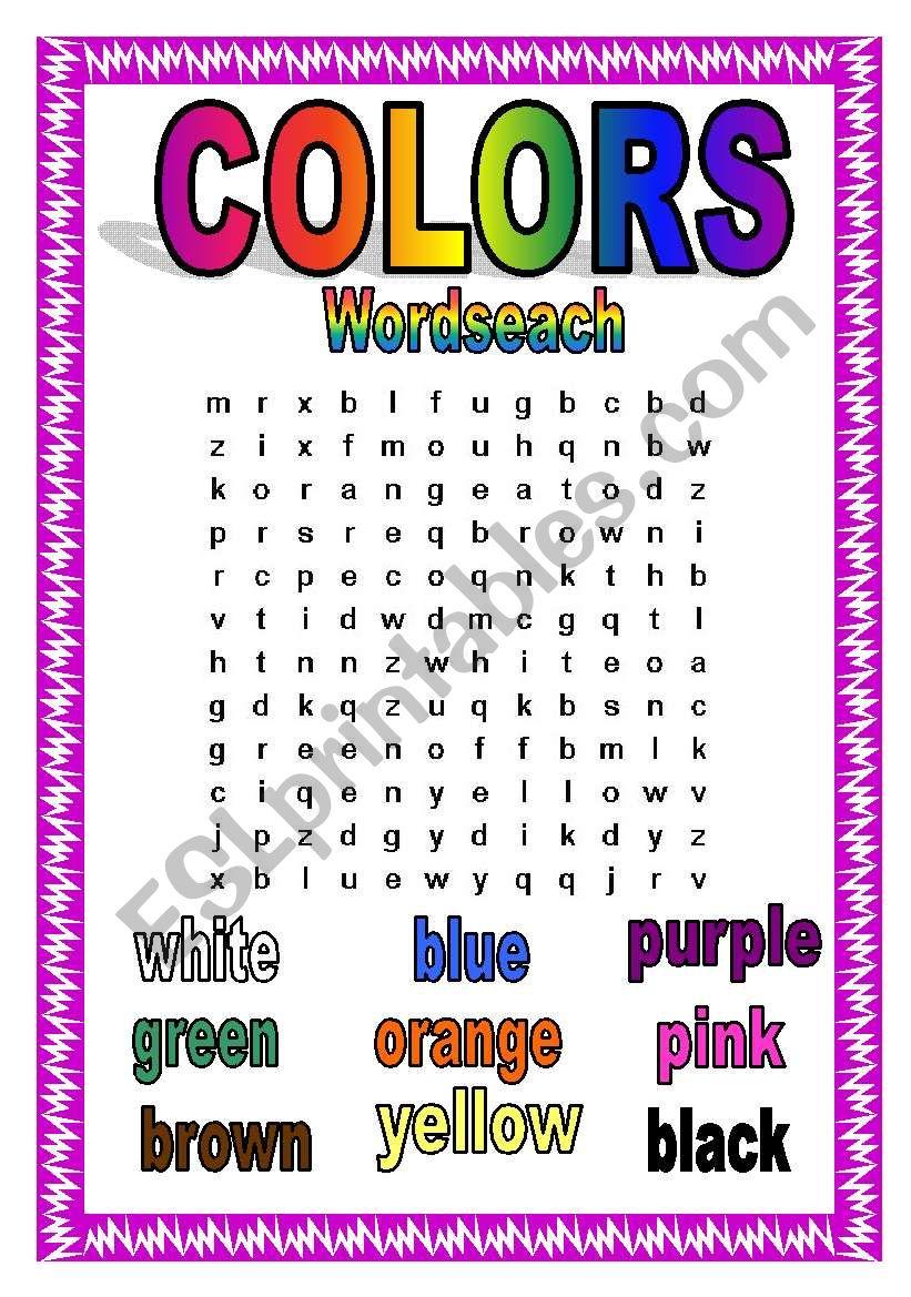 english worksheets colors wordsearch. Black Bedroom Furniture Sets. Home Design Ideas