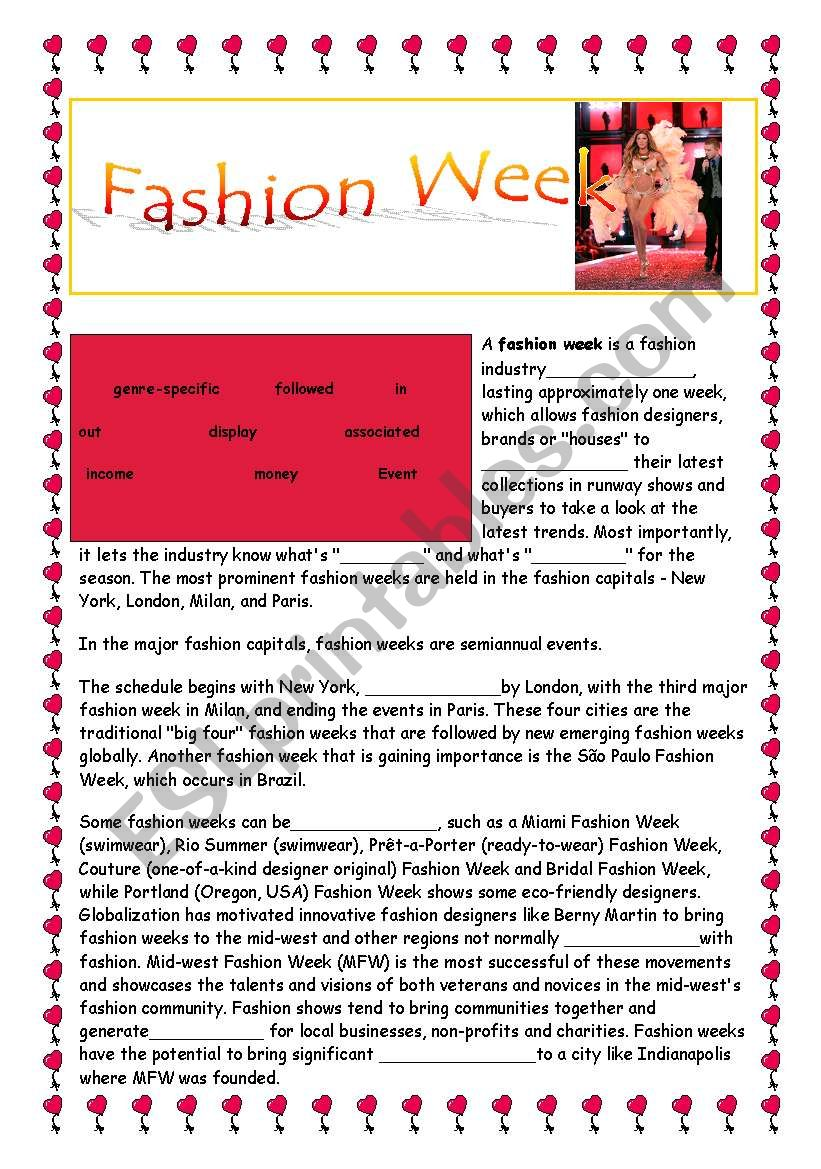 °°°°   FASHION WEEK  °°°° - reading, questions, vocabulary practice