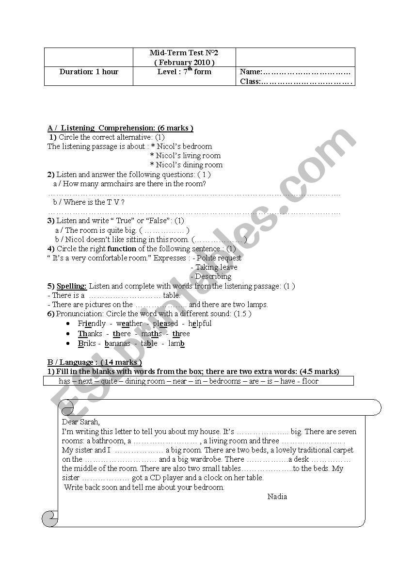 7th form mid-term test n°2 + remedial work