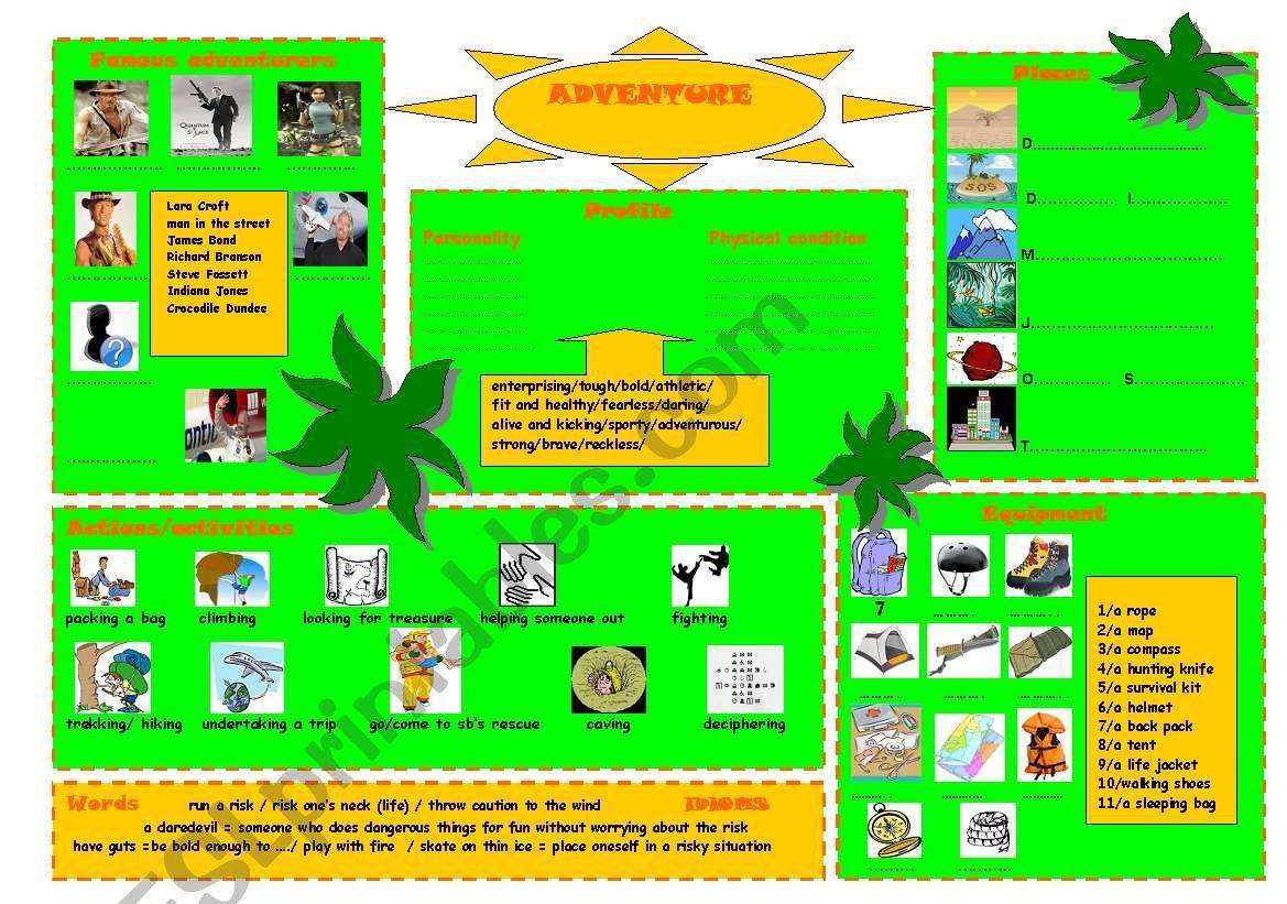 Adventure worksheet