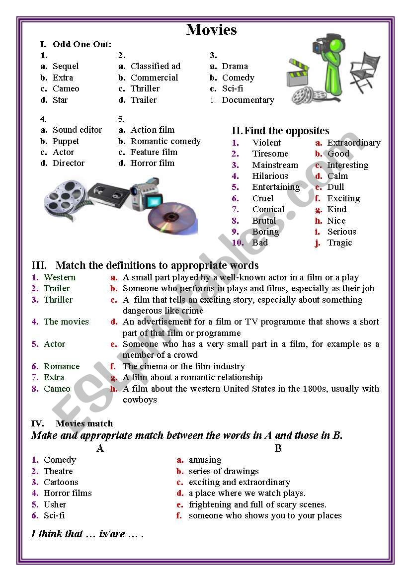Movies worksheet