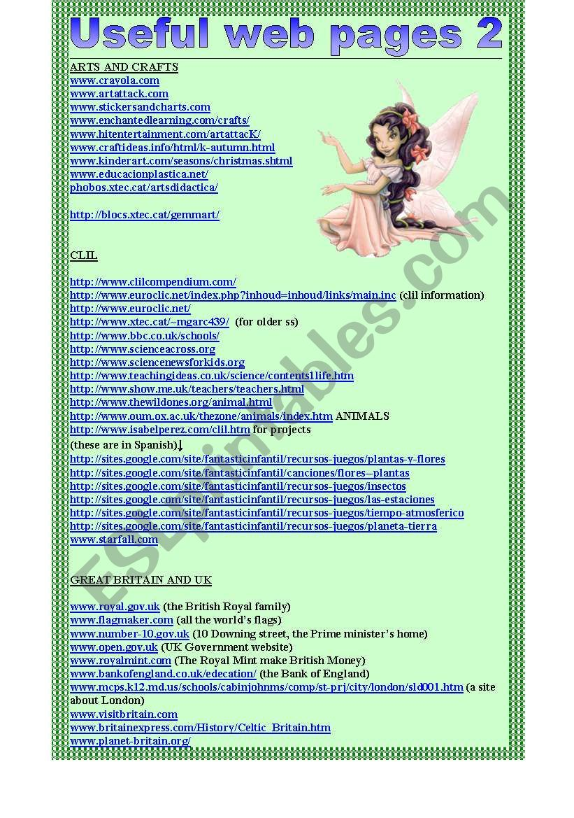 useful web pages 2. (2ws) worksheet