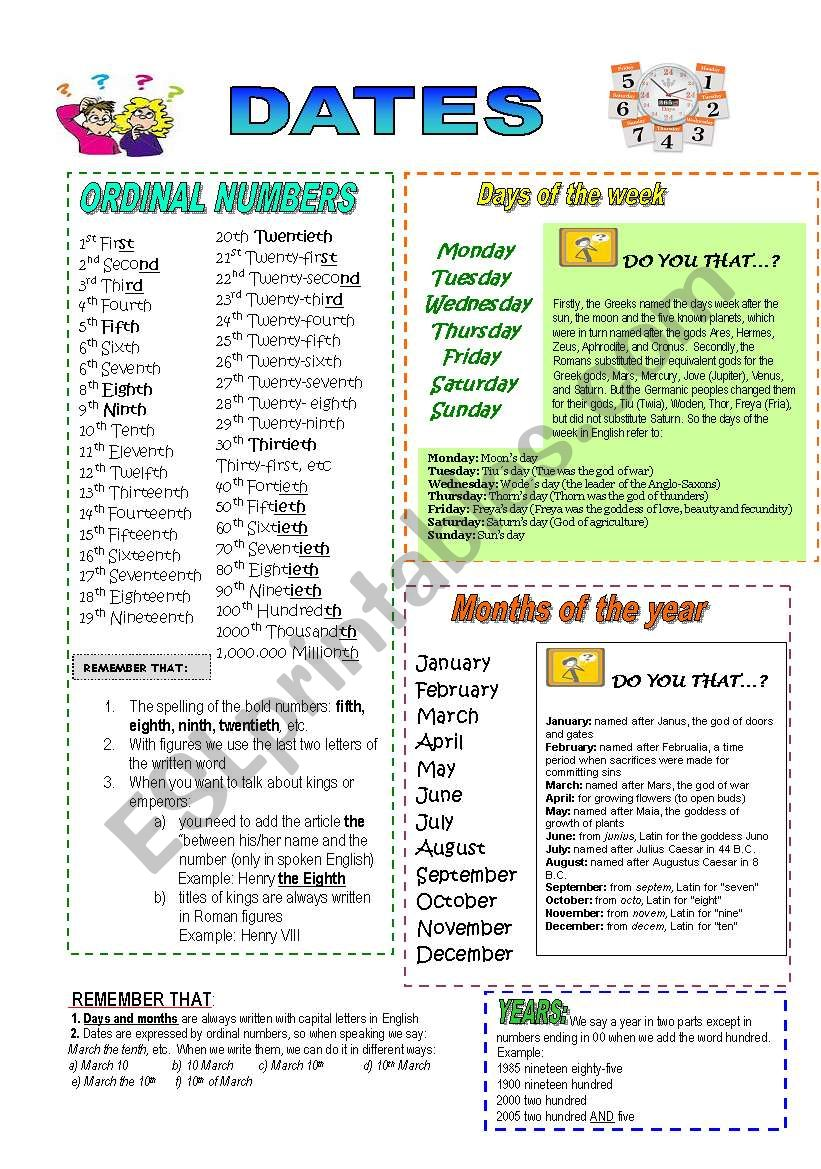 DATES - PREPOSITIONS OF TIME worksheet
