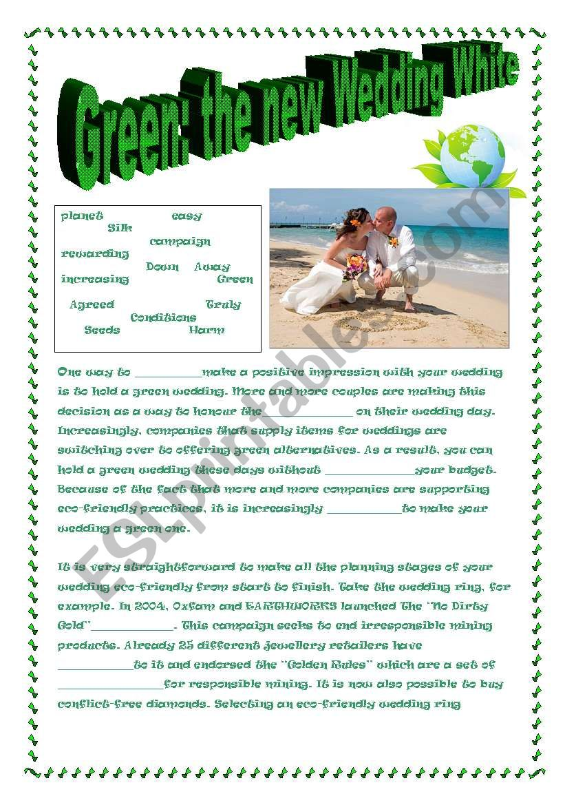 §§§§  GREEN: THE NEW WEDDING WHITE!  article about green weddings §§§§§