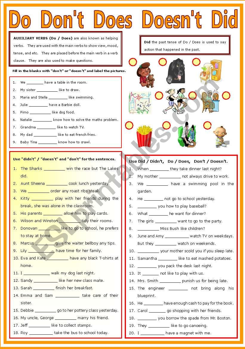 Auxiliary Verb - Do - Don´t - Does - Doesn´t - Did