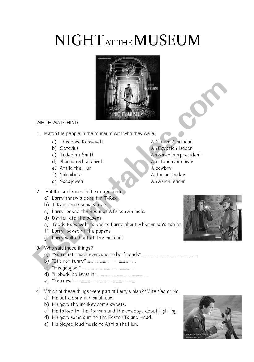 Movie: Night At The Museum worksheet
