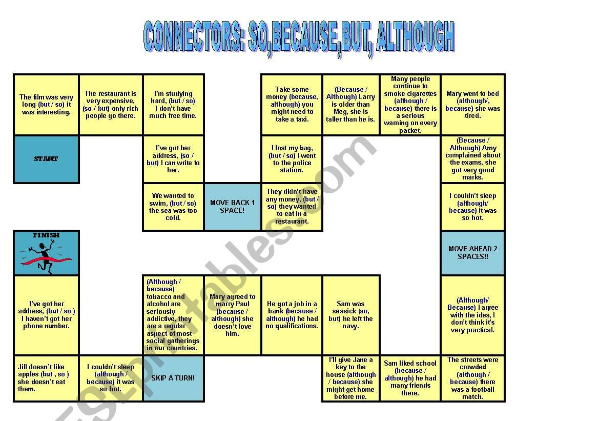 Connectors board game (so,because,but,although) - ESL worksheet by