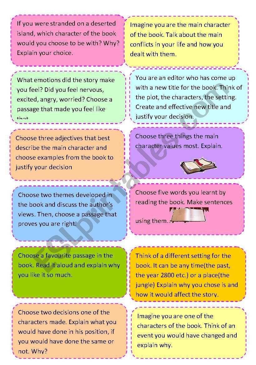 LITERATURE SPEAKING CARDS worksheet