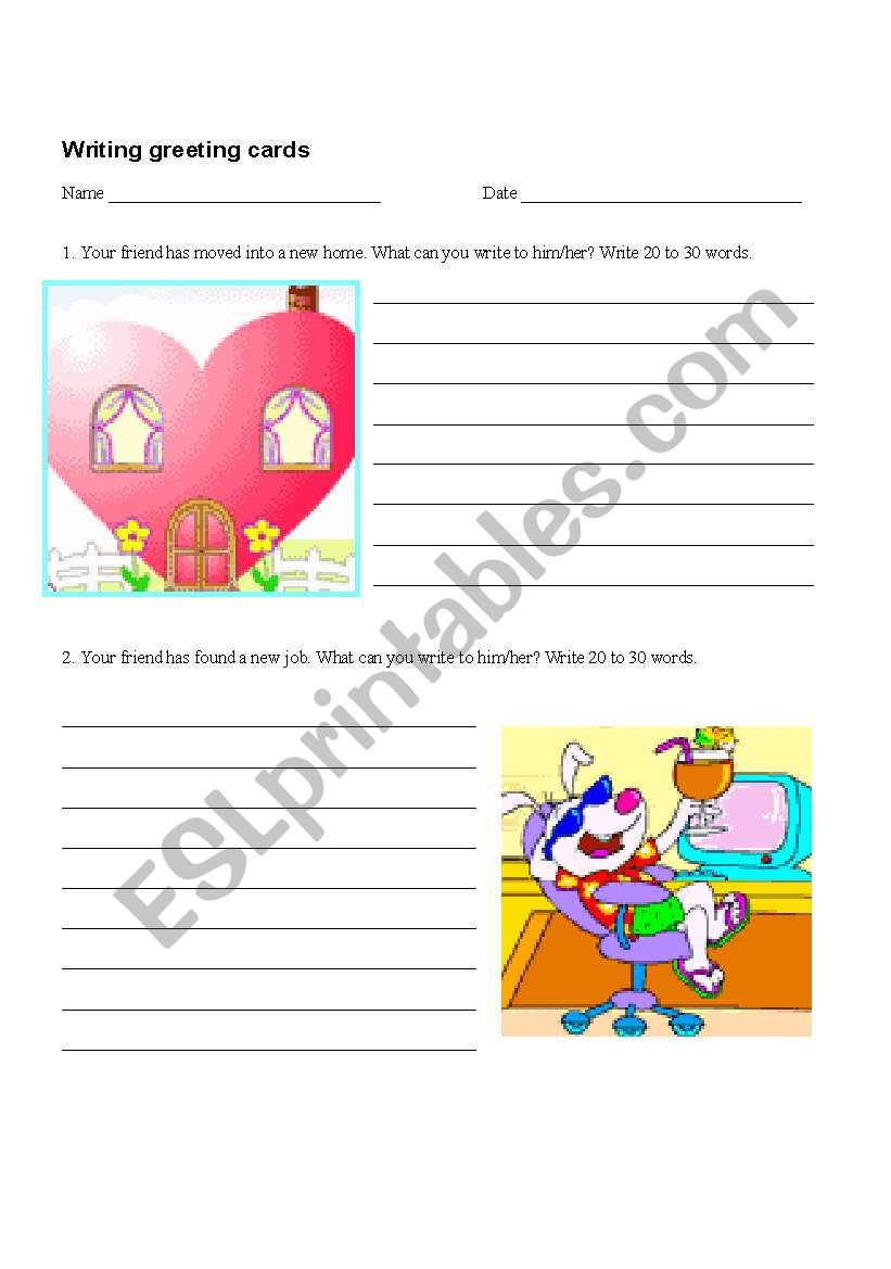 Writing Greeting Cards And An Invitation Esl Worksheet By Tvillikko