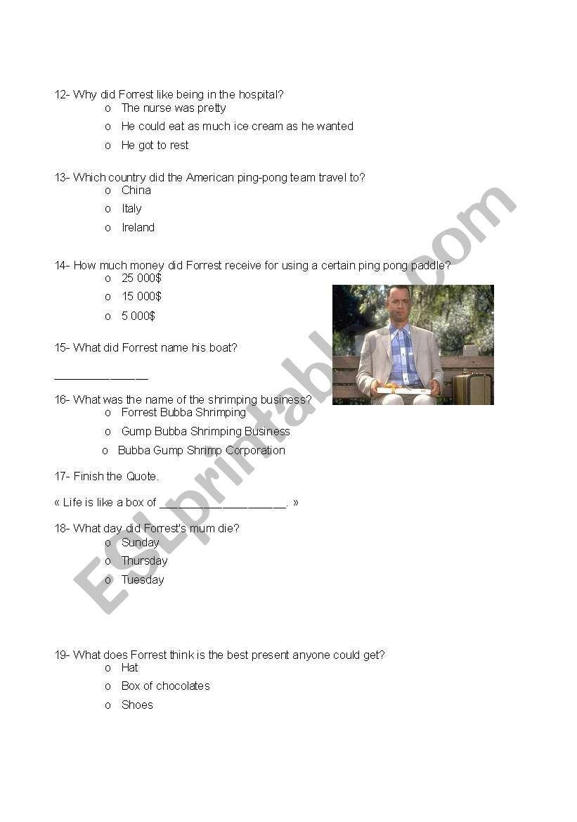 Forrest Gump movie quiz (part 2)