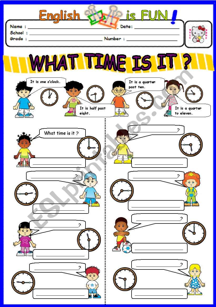What time is it ? worksheet