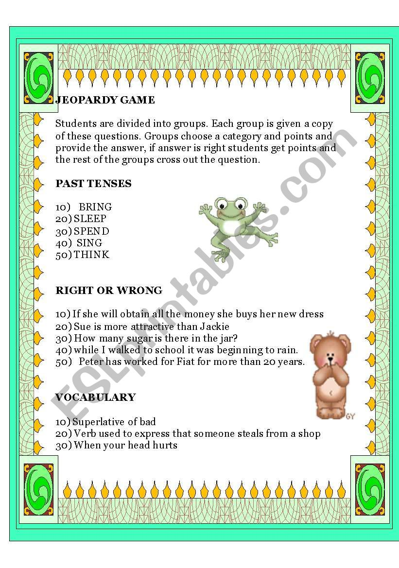 Jeopardy Game Elementary worksheet