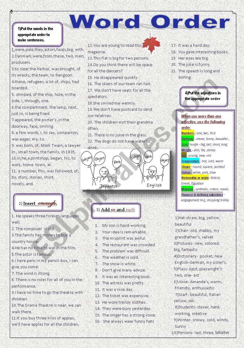 Word order in a sentence worksheet