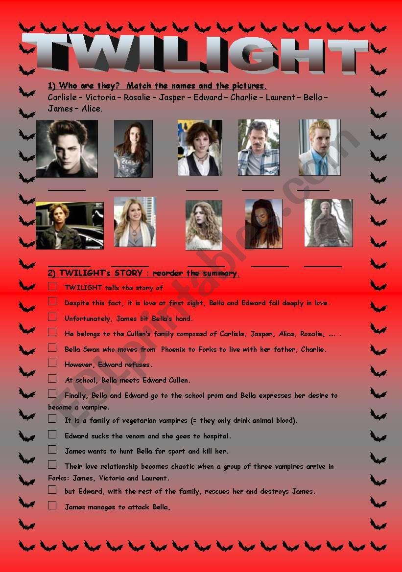 Twilight´s story worksheet