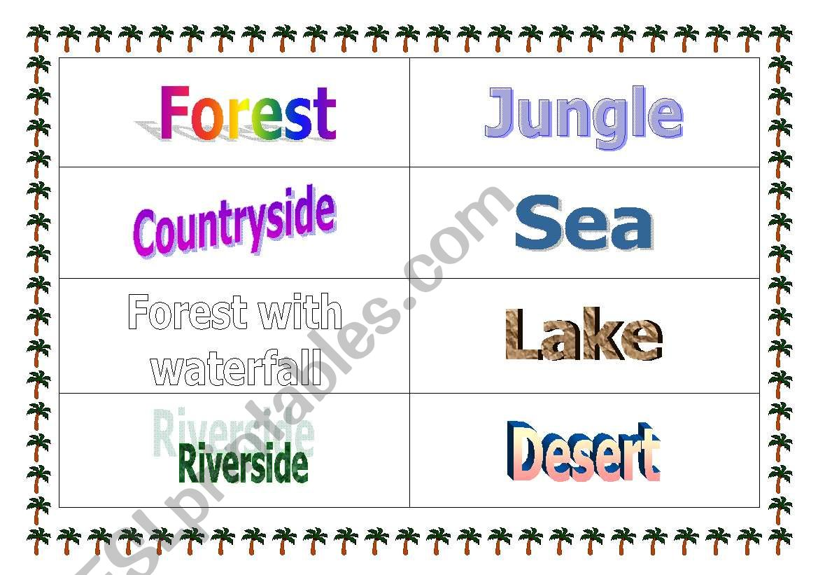 Natural Spaces´ names worksheet