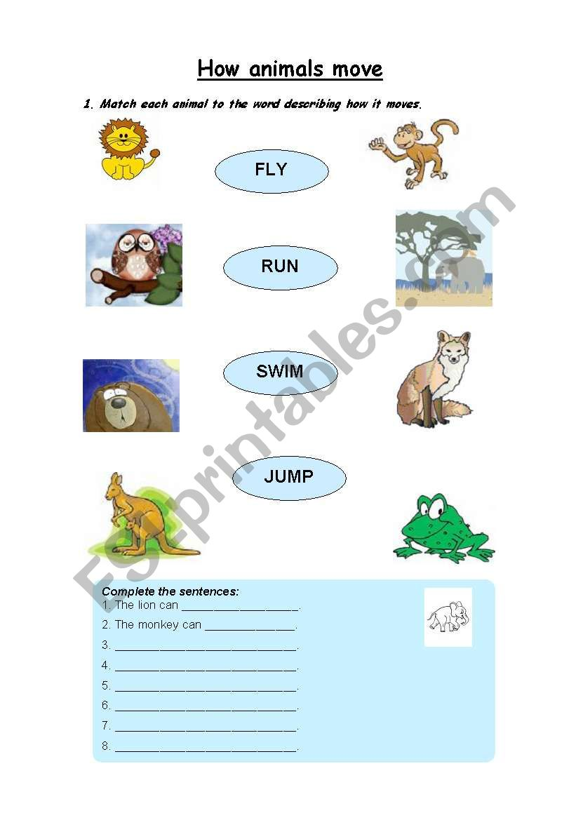 english worksheets how animals move. Black Bedroom Furniture Sets. Home Design Ideas