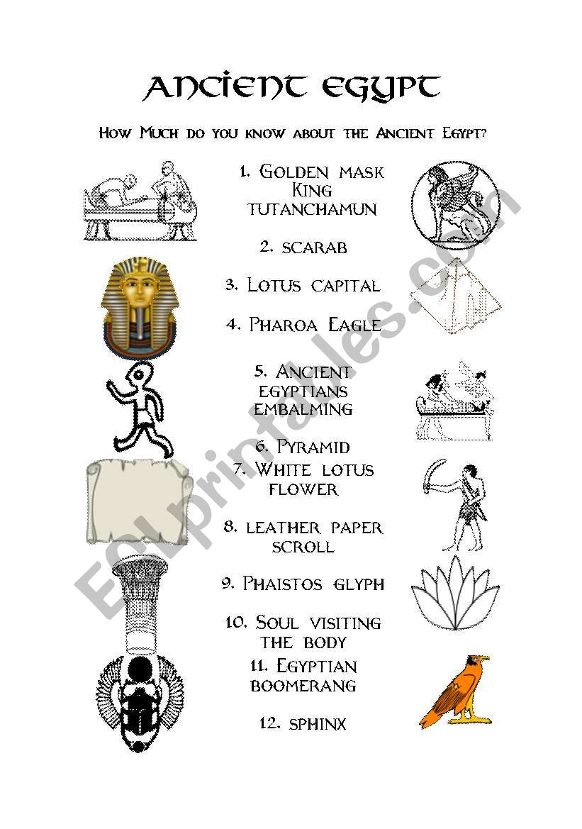 photo relating to Ancient Egypt Printable Worksheets called Historic Egypt - ESL worksheet by way of evacufu