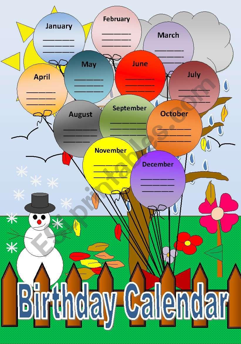 Birthday Calendar - ESL worksheet by tachita