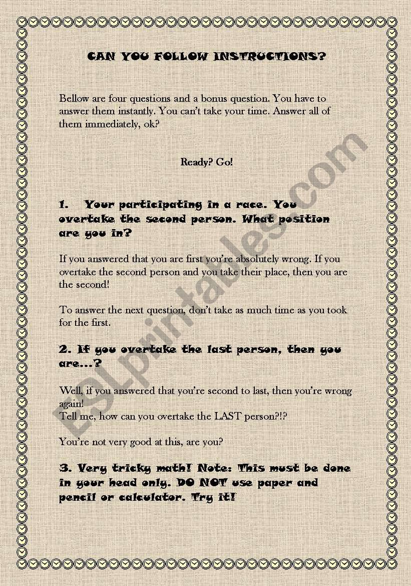 English Worksheets Can You Follow Instructions