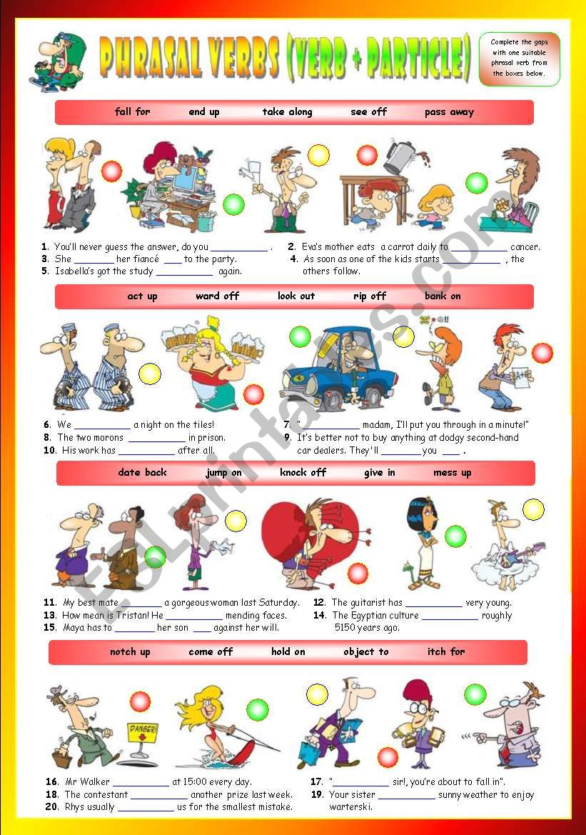 Phrasal Verbs (Tenth series). Exercises (Part 2/3). Key included!!!