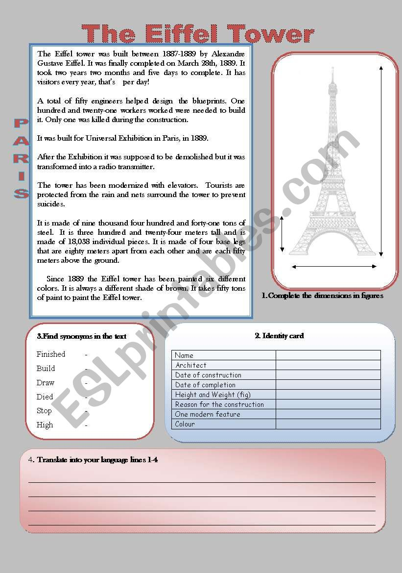 Simple Reading : The Eiffel Tower